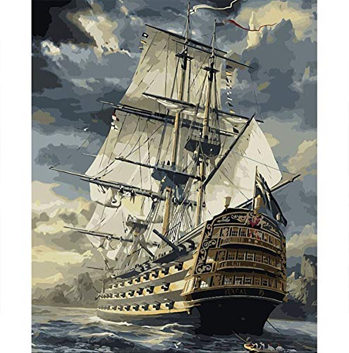 BERYART DIY Oil Painting Paint by Numbers Kits for Adults Kids Beginner -16 x 20 inch Ship Sailing with Brushes and Acrylic Pigment (Without Frame)