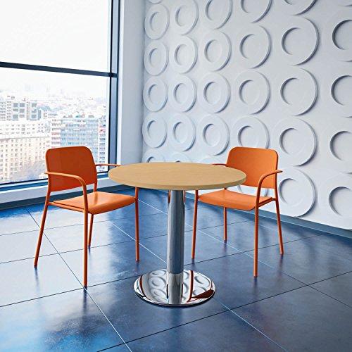 WeberBÜRO Optima runder Besprechungstisch Ø 80 cm Buche Verchromtes Gestell Tisch Esstisch