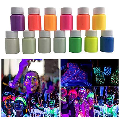 ISAKEN Pintura Luminosa de Que Brilla en la Oscuridad, 13 Colores 20ml UV Pintura Facial y Corporal, Pintura Fluorescente para Luz Fosforescente y Luz Negra