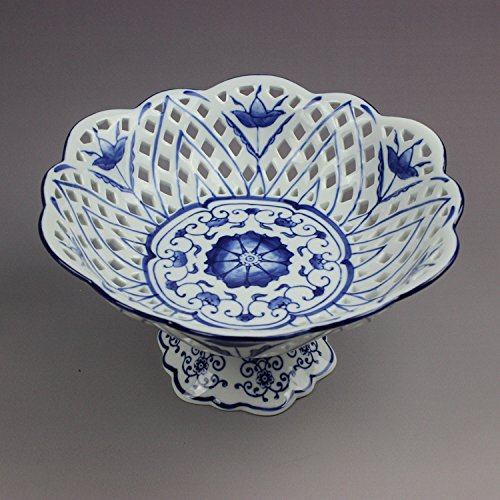 Blue & White Porcelain Fruit Bowl, Hand Made Hand Painted Size: 10 X 10 X 5 Inches