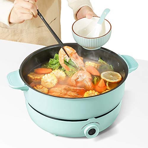 Electric Hot Pot with Induction Cooker Non-Stick Electric Skillet,Electric Pot for Cooking Burner with Shabu Shabu Pot Enjoy Chinese Hot Pot with Family and Friends 5.3QT Multi-Cooker (5.3QT)