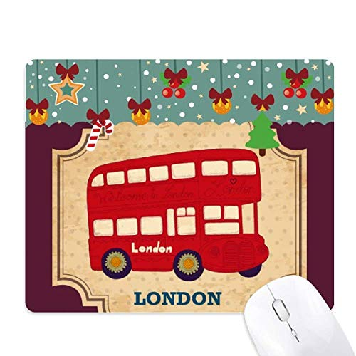 UK Londen dubbeldekker bus stempel muismat spel office mat kerst rubber pad