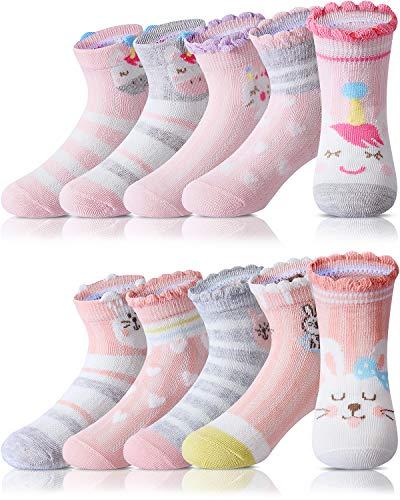 Adorel Calzini Calze Corte Cotone Bambina 10 Paia Calzini Estivi Unicorno 23-26 (Dimensione del produttore M)
