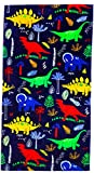 "YIFONTIN Beach Towel for Kids, 100% Cotton Soft Blanket Throw, 24"" X 48"" Dinosaur Terry Towel for Travel, Beach, Swimming, Bath, Camping, and Picnic"