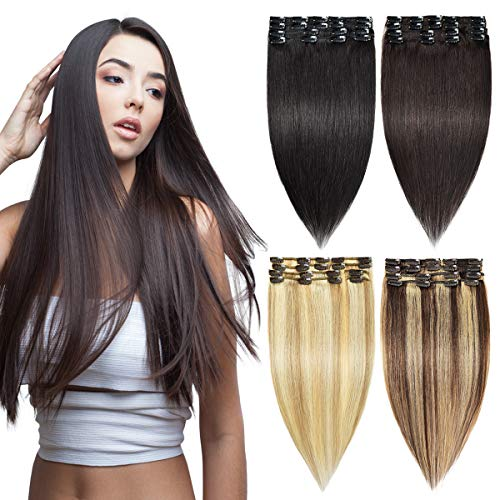 Clip in Hair Extensions Long Straight 8PCS 100% Remy Human Hair Pieces for Women Natural Black Clip on Hair Extensions