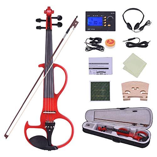 Violín de tamaño completo 4/4 de madera maciza eléctrica Silenciosa violín estilo...