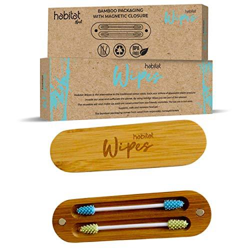 Habitat Wipes - Cotton Fioc Réutilisable pour oreilles dans une boîte en bambou - Matériau écologique en silicone biodégradable biodégradable lavable Eco-Friendly - Vert et bleu