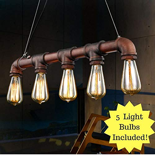 Dazhuan Industrieller Dampf Punk-Retro antike Deckenlampe Beleuchtung Kupferrohr Kronleuchter Anhänger E27 Edison-Lampe Armaturen 5,Copper