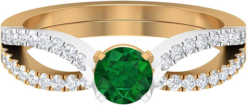 New Shipping Free 5.00 Limited price MM Solitaire Emerald Ring Diamond Gold HI-SI Split S