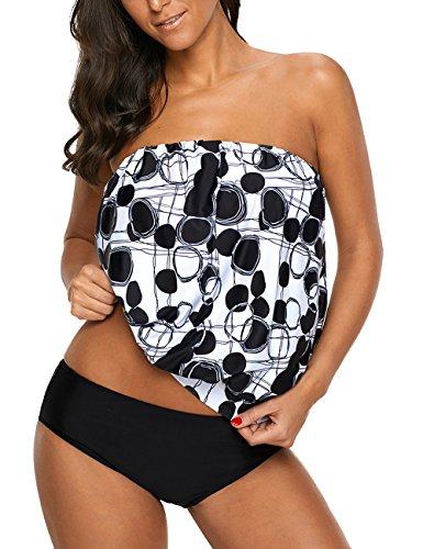 Chenghe Women Blouson Tankini Top High Waist Moderate Bottom Two Piece Swimsuit Black US 12-14 / L