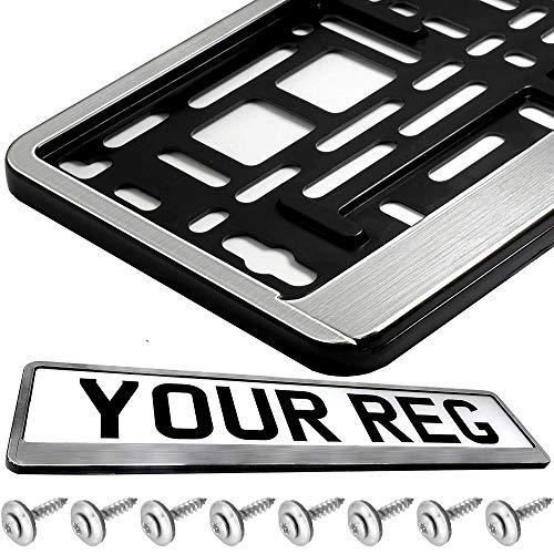 2 Chrom Kennzeichenhalter Chrom Gebürstet Kennzeichenhalterung Chrome NEU inkl. Montageanleitung , 8 Befestigungsschrauben , 8 Unterlegscheiben und neue KFZ Schein Schutzhülle.