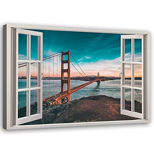 Feeby Cuadros en Lienzo 3D Ventana Arte Moderno San Francisco Marrón 90x60 cm
