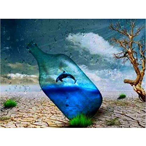 5D Diamante Pintura,DIY Diamond Painting Kit Ballena asesina de botella de agua de playa taladro completo Cristal diamante Bordado Pinturas Kit,Inicio Decoración de Pared y Manualidades 30x40 cm