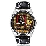 Reloj analógico de Cuarzo con diseño de Cortinas Rojas, Esfera Plateada, Correa de Piel clásica, para Hombre y Mujer