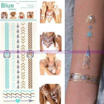 Ki-Sign Tatouage Bracelet Cheville Ethnique, Planche Tattoo Or, Argent, Bleu 23 x 9 cm