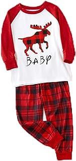 PowerFul-LOT® ChristmasWomen Men Kids Family Matching Pajamas SetDeer Printed Top+ Pants, Fall Winter Home Clothes Loung...