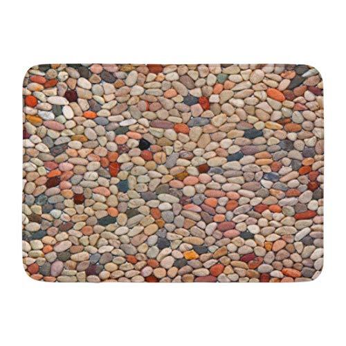 Yilan Alfombrilla de baño Granito Marrón Pared Piso Patrón de Grava Piedra Gris Jardín Guijarro Decoración de baño Alfombra