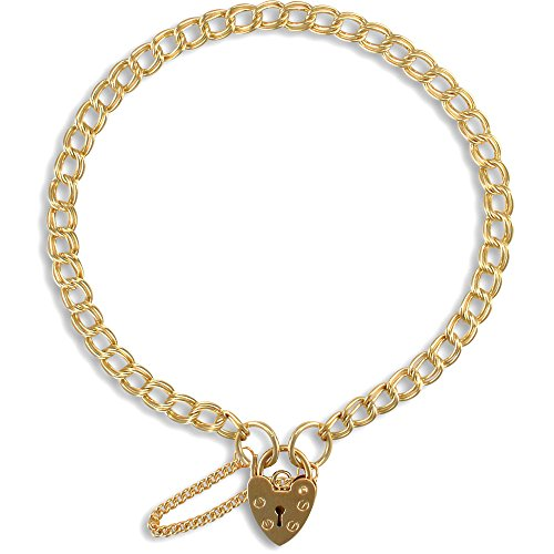 Jewelco London Ladies Solid 9ct Yellow Gold Love Heart Padlock Double Curb Link 4mm Gauge Charm Bracelet