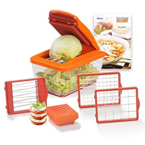 Genius Nicer Dicer Chef S Food Processor | Zwiebel Zerkleinerer | Mandoline Gemüseschneider 8 in 1 Gemüse in Würfel schneiden, Edelstahl, Kunststoff, Orange, 21 x 12 x 8 cm