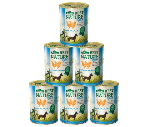 Dehner Best Nature Hundefutter Light Huhn und Karotten mit Distelöl, 6 x 400 g (2.4 kg)