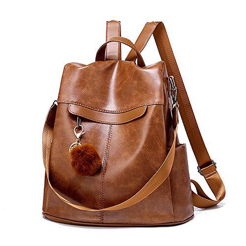 Padgene Mochila Bolso Mujer Antirrobo Impermeable Gran Capacidad Mochila Bolsa de Mano de Cuero Vintage Casual Señoras Bolsa de Escuela Viaje (Marrón 081)