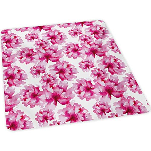 Watercolor Hard Floor Chair Mat, Abstract Floral Arrangement Peonies Pattern Botany Themed and Nature Inspired, 35' x 47' Office Chair Mats for Hard Surfaces, Pink Magenta