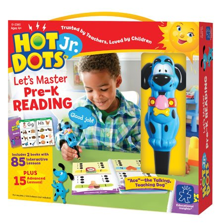 Educational Insights Hot Dots Jr. Let's Master Pre-K Reading Set with Ace Pen, Ages 4 and Up, (100 Self-Checking Lessons)