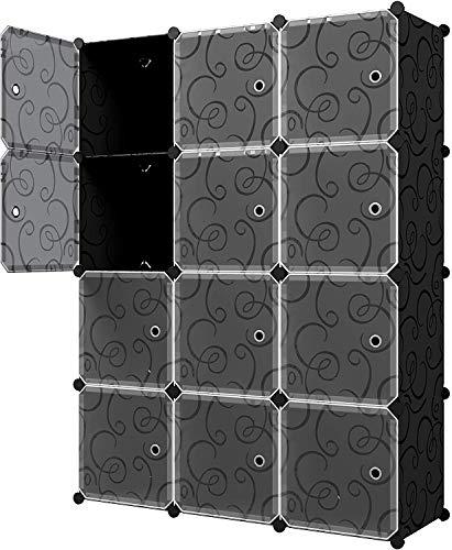Glamexx24 plank systeem kledingkast gemaakt van plastic plug-in plank opslag plank boekenkast speelgoed organisatiekast 12 kubussen zwart