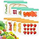 Opret Bolsas Almacenamiento de Alimentos Reutilizables, 10 Pack Bolsas Congelar Reutilizables de 3 Tamaños Bolsas de Silicona Reutilizables para Sandwich, Fruta y Vegetales, Sin BPA
