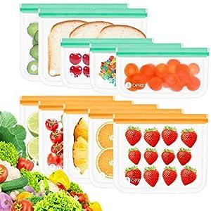 Opret Bolsas Alimentos Reutilizables, 10 Bolsas Congelar Reutilizables de 3 Tamaños Eco Envases Reutilizables para Bocadillo, Sandwich, Fruta y Vegetales, Aprobado por la FDA, no BPA