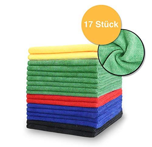 SellerKing® 17 Microfasertücher im 5 Farben Set. Mikrofasertücher für Küche, Haushalt, Wohnbereich, Fenster, Bad, Toilette, Auto/Kfz 40x40 cm