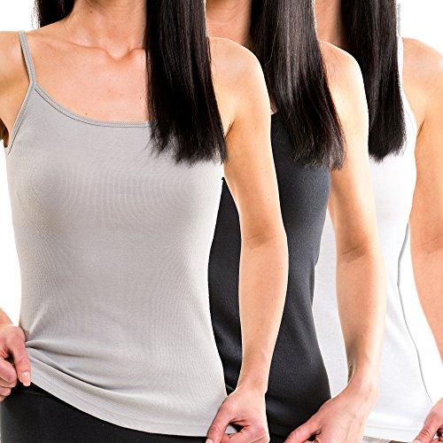 HERMKO 1560 3er Pack Damen Träger Top aus 100% Baumwolle, Größe:36/38 (S), Farbe:Mix w/s/g
