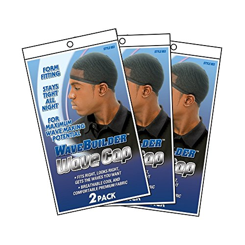 WaveBuilder Wave Cap | Promotes Healthy and Uniform Hair Waves, 6 Pack (Black)