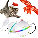 SHU UFANRO Interactive Cat Toys for Indoor Cats,Auto Rotate Ball with Catnip Smell,USB Rechargeable Cat Toy with Bell and Feather,Cat Gifts for Cats/Kitten