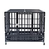 Heavy Duty Pet Dog Cage Strong Metal Crate Kennel Playpen w/Lockable 4 Wheels&Tray(36', Black