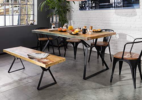 MASSIVMOEBEL24.DE Table à Manger 180x90cm - Fer et Bois Massif recyclé laqué (Multicolore) - Industrial #13
