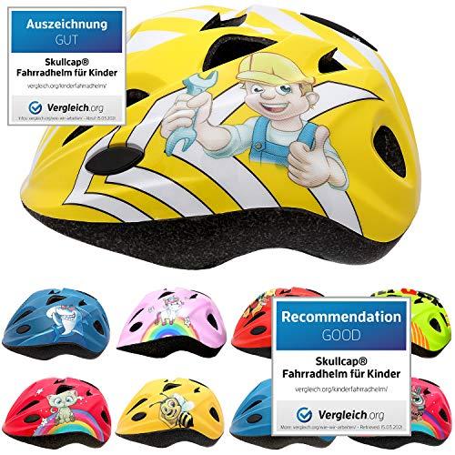 Skullcap® Fahrradhelm für Kinder Helm für City-Roller, Longboard, Scooter - Gelber Helm für Inliner, Schlittschuh/Rollschuh von Kindern gestaltet - von Profis gebaut, Bauarbeiter