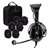 KORE AVIATION KA-1 Premium Gel Ear Seal PNR Pilot Aviation Headset with MP3 Support, Carrying Case, 3 Pack of Cloth Ear Covers Bundle