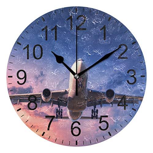 SENNSEE Wanduhr, Flugzeug mit Himmel, dekorativ, für Wohnzimmer, Schlafzimmer, Küche, batteriebetrieben, runde Uhr, Kunst für Zuhause, einzigartig