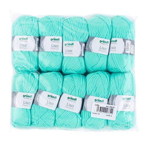 Gründl Lisa Premium Wolle, Polyacryl, pastelltürkis, 133 m, Nadelstärke 3,5- 4,5, 10er Pack