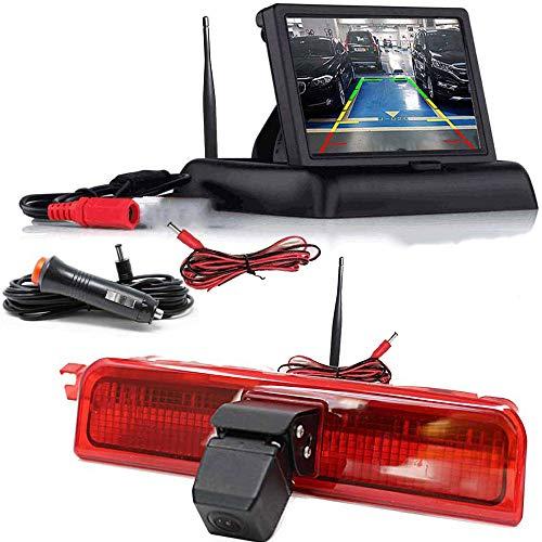 HSRpro Caméra de recul sans fil 3ème feu stop compatible avec VW Candy – Compatible avec Volkswagen Candy – Avec écran à rabat – Système de recul de transporteur
