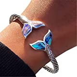 Abalone Shell and Mermaid Tail Bangle Bracelet Adjustable Open Cuff Bracelet for Women Hand Chain Jewelry Gift for Her on Special Day