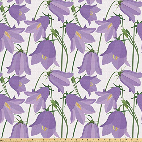 Ambesonne Botanical Fabric by The Yard, Burgeoning Bluebells Meadow Flowers Efflorescence Fresh Garden, Stretch Knit Fabric for Clothing Sewing and Arts Crafts, 2 Yards, Lavender Yellow