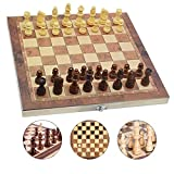 JSDOIN 3 in 1 Chess Set - 12'x12' Wooden Chess Board, Educational Board Games, Wooden Chess Set for Boys, Girls, Family Games(29cm×29cm))