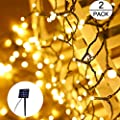 SANJICHA Solar String Lights Outdoor, More Brighter 2-Pack Each 72ft 200 LED Solar Lights Outdoor, Waterproof 8 Modes Outdoor Fairy Lights for Garden Patio Yard Party (Warm White)