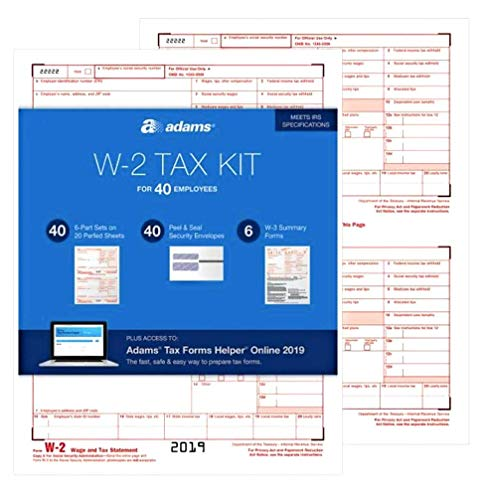 Adams W2 Forms 2019, 6 Part Tax Forms Kit, 40 Employee Kit of Laser/Inkjet Forms, 6 W3 Summary Forms, 40 Self Seal Envelopes, Tax Forms Helper Online (TXSC619)