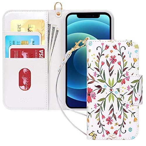 FYY - Funda de piel sintética para iPhone 12 Mini, función Kickstand, con [ranuras para tarjetas] y [bolsillos] para Apple iPhone 12 Mini 5.4 2020, diseño 5