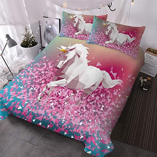 Rnvvaceo Cartoon white animal unicorn Comforter Set Full, 3 Piece Super Soft Microfiber Bedding Sets, All-Season Reversible Quilt Duvet for Children Boy Girl Teen Kids - Includes 1 Comforter, 2 Pill