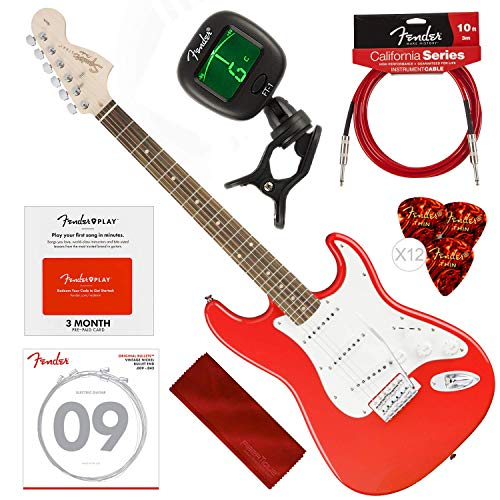 Squier by Fender Affinity Stratocaster Beginner Electric Guitar, Race Red Beginners Bundle with Fender Play Pre-Paid Card, Strings, Picks, Tuner & More