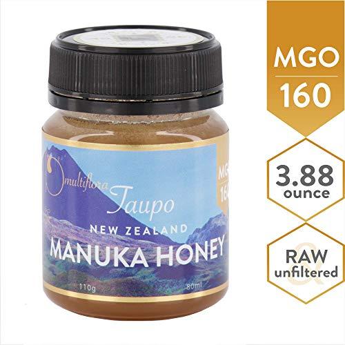 Manuka Honey New Zealand's MGO 160 Taupo Manuka Honey - 100% Pure Raw & Unfiltered; 3.88-oz. Small Jar; Manuka Honey MGO Certified; Small + Beautiful Taupo New Zealand Manuka Honey